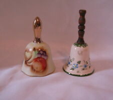 """Lot Of 2 Vintage Porcelain Bells One 4"""" With Fruit One 4.25"""" With Flowers"""