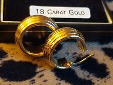 Lovely 18ct Gold ribbed Hoop / Huggie / Creole Earrings 750 Hallmark. Worn twice