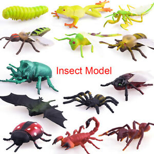 12pcs Plastic Realistic Insect Model Figure Toys Assorted Bugs Lifelike Insects