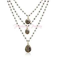 138 Carat Pyrite Triple Strand Beaded Necklace In 14K Yellow Gold Over Silver