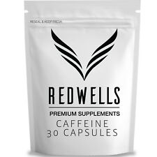 30 Pure Caffeine Anhydrous Capsules - 200mg Per Serving - Quality Guaranteed UK