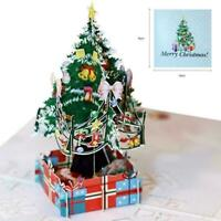 3D Up Merry Christmas Cards Gift White Christmas Tree Festival Greeting Car W0X6