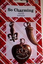LOT OF 10 MIX LOT OF CHARMS PENDENT METAL BEADS BY SO CHARMING HEART & SOUL NEW