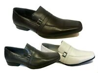 MENS SLIP ON ITALIAN LEATHER SMART FORMAL WEDDING OFFICE PARTY SHOES SIZE NEW