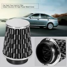 """3""""Air Filter Clean Intake For Car High Flow Short Carbon Pattern COLD Round Cone"""