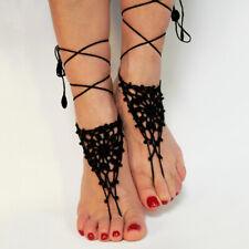 Women Cotton Knit Crochet Barefoot Sandals Beach Anklet Foot Bracelet Trendy