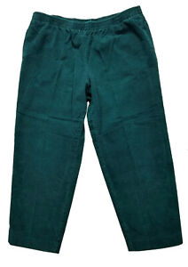 Alfred Dunner Women Pull Up Corduroy Size 14P Green 100% Cotton Pants