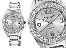 AKRIBOS XXIV - Damenuhr - 39mm weiß Metall-Armband & -gehäuse, Kristall, AK514WT