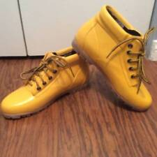 9 Land's End Vintage Yellow Rubber Rain Duck Ankle Boots Lace Up