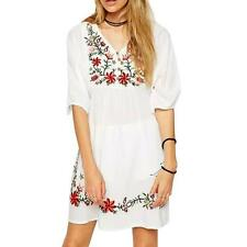 Women's Lady Vintage Embroidered Mexican BOHO Hippie Party Short Mini Dress