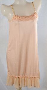 Lotta love Ladies nylon full slip with embroidery ruffle trim no.109 sz M