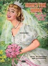 VINTAGE UNCUT 1960 HERE'S THE BRIDE PAPER DOLLS~#1 REPRODUCTION~PRETTY SET!