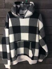 America Eagle 548 Off white Charcoal Check Fleece Hoodie Juniors XL