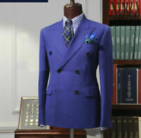 Purple Double-breasted Men's Suit Wide Peak Lapel Groom Formal Wedding Tuxedos