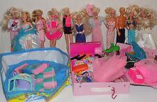 Large Lot Vintage Barbies, Clothes, Pool, Ice Cream Shoppe, Case