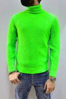 Maglione Costa Inglese Invernale Uomo Collo Alto Verde Fluo Slim Semplice Casual