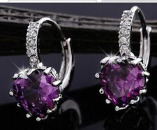 Purple Heart Crystal Rhinestone Stud Hoop Pierced Silver Plated Earrings E70