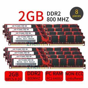 16GB Kit 8x 2GB DDR2 800MHz PC2-6400 240Pin intel 1.8V DIMM RAM Desktop Memory