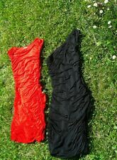 Lot 2 robes stretch moulantes HetM noire+rouge T S/M neuves