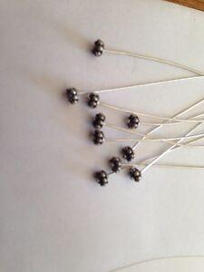 """10 .925 BALI STERLING SILVER Flower Head Pins 2 7/16"""" Long L@@K !!!"""