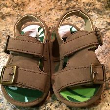 Baby gap sandals size 6 - 12 months unisex olive-brown-green Preowned EXC