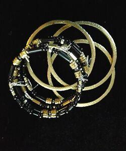 Silpada Sterling Silver Black Nightfall Wrap and Brass Bangle Bracelet Lot of 4