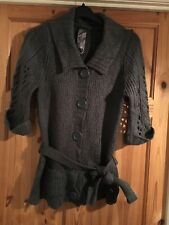 E-VIE Ladies Pretty Grey Short Sleeved Belted Cardigan Size 14-16