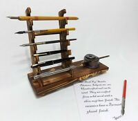 Calligraphy inkwell Pen rack holder desk top ink fountain dip display stand