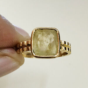 22 Kt Solid Yellow Gold Real Natural Yellow Sapphire Gemstone Ring Size 7,8,9,10