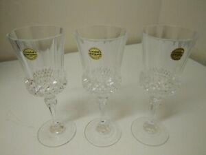 3 x Cristal D'Arques 24% Lead Crystal Wine Glasses