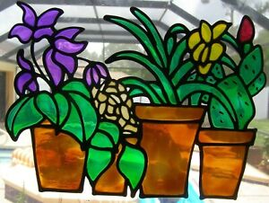 Potted Flowers, Orchid, Succulent Stained Glass Window Cling Suncatcher