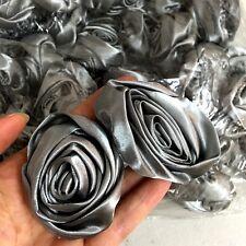 "12pc Gray 2"" Satin Ribbon Rose Flowers DIY Wedding Bridal Dress Bouquet 50mm"