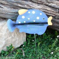 METALL FIGUR FISCH blau handbemalt 50cm Edelstahl Stahl GARTEN DEKO WOHNUNG