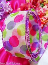 "5 Yards Ribbon pink purple green polka dots Wreaths Gift Bows 2 1/2"" wide wired"