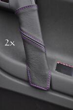 Pour vw tiguan 2007 perforé volant en cuir housse violet double stitch