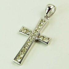9ct White Gold Diamond Cross Pendant .
