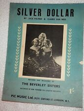 SILVER DOLLAR by JACK PALMER AND CLARKE VAN NESS 1950 Vintage Sheet Music