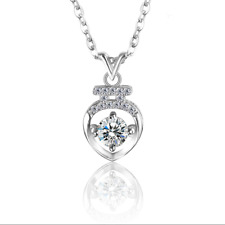 Womens Sterling Silver Vase White Crystal Cubic Zirconia Pendant Necklace 2017