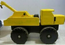 Yellow-Wooden-Tow-Truck-Hot Springs Village Woodworkers-Toy-Solid-Heavy-