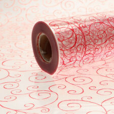 Red Scroll Cellophane Wrap Hamper & Gift Wrapping  1m - 100 meters