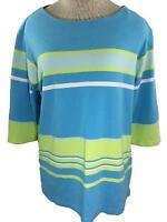 Paradise Bay Plus knit top size 1X blue green stripe 3/4 sleeve
