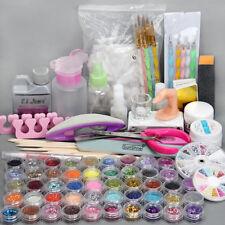 48 Nail Art Tools Acrylic Powder Liquid kit UV Gel Glitter Brush Clipper Tips