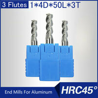 HRC45 3 Flutes 1MM Solid Carbide End Mills For Aluminum L 50MM
