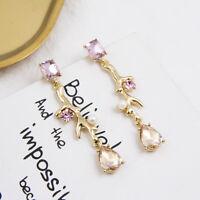 Women Crystal Earring Branch Stud Drop Dangle Eardrop Wedding Jewelry Rhinestone