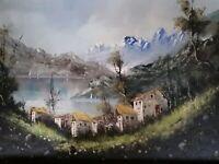 Cesare Monti Listed Italian Artist Orginal Oil On Canvas Painting Of Lake Como