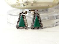 Old Mexican Sterling Silver 925 Green Jade Jadeite Mexico Screw Back Earrings
