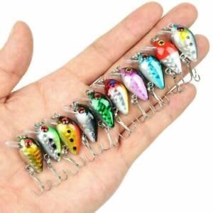 10x Fishing Lures Lots Of Mini Minnow Fish Bass Tackle Hooks Baits Crankbait US