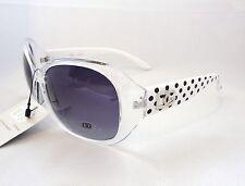 DG Eyewear Sunglasses White & Clear & Black Polka Dots Women Ladies Shades New