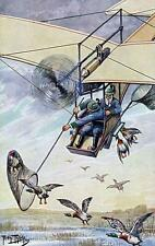 MEN HUNTING GEESE FROM AIRPLANE WITH NET, THIELE, COMIC, MAGNET