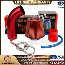 "3"" Universal Car Cold Air Intake Filter Red Alumimum Induction Pipe Hose System"